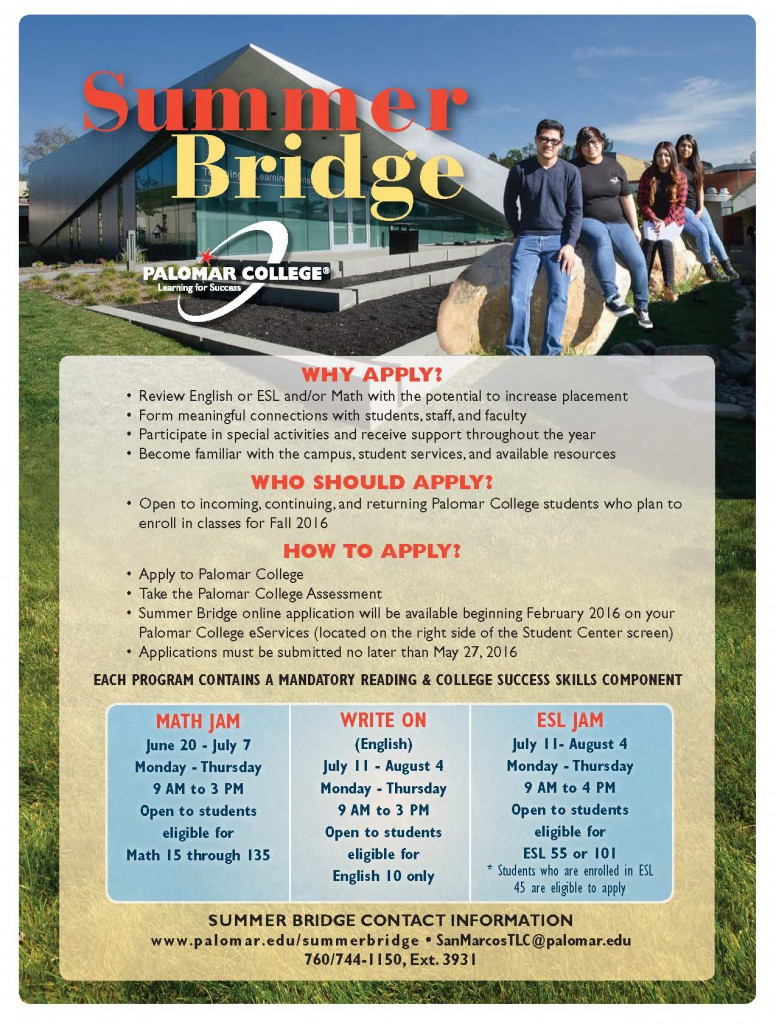Summer Bridge 2016 Flyer