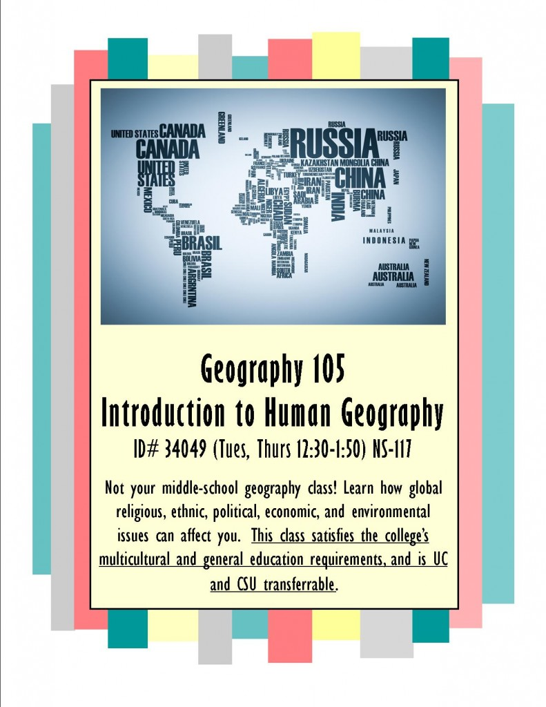 Enroll in Geography 105 today!