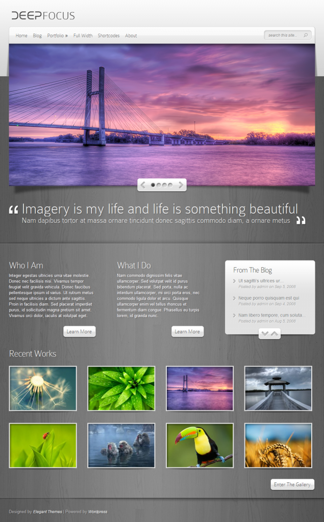 DeepFocus theme layout on large screen