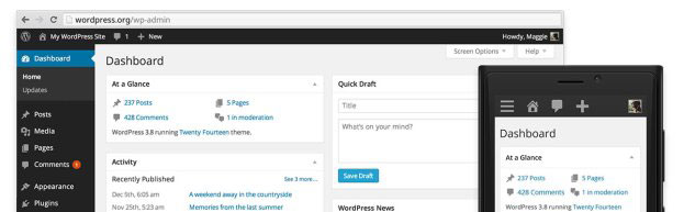 WordPress 3.8 admin overview