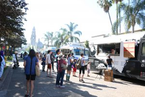 A crowd gathered for Food Truck Fridays at Balboa Park.