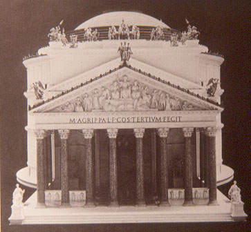 Reconstruction of Pantheon as it may have looked, showing portico and statues (Hudelson, n.d.)